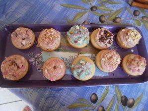 Recette de mini-cupcake à la vanille rose et bleu