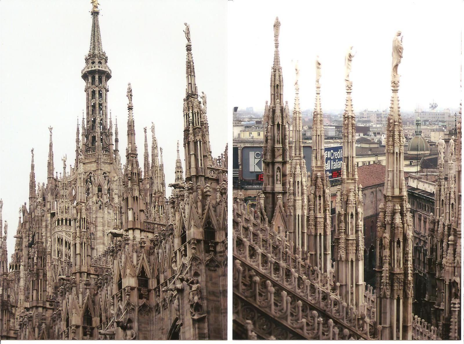 Flèches de la cathédrale de Milan, photos Michèle Delisle avril 1994