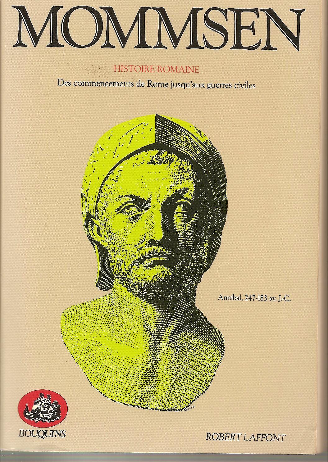"""buste d'Hannibal sur couverture """"Histoire romaine"""" de Mommsen"""