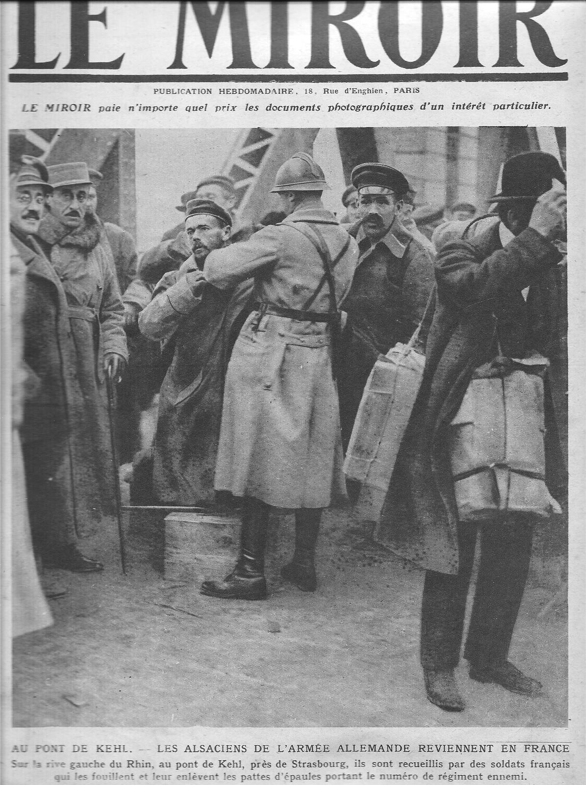 """retour des Alsaciens de l'armée allemande, photo """"Le Miroir"""" du 8 décembre 1918"""