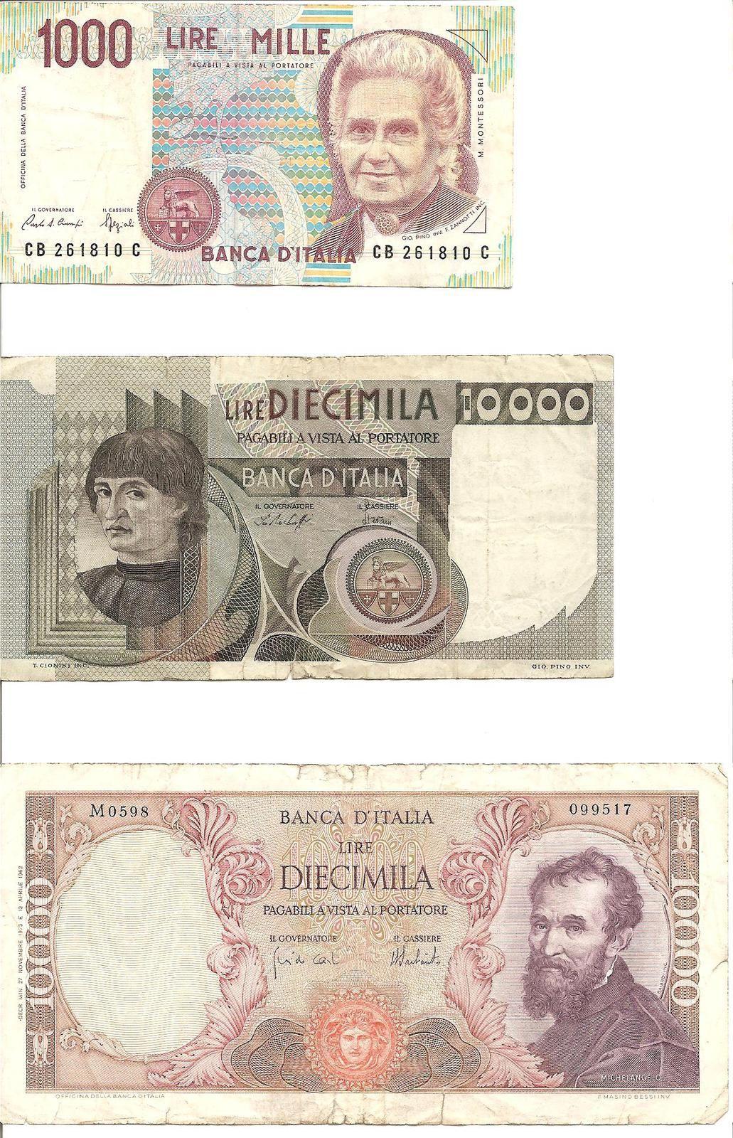billets italiens en lires : 1.000 lires de 1990 effigie : Maria Montessori, billet de 10.000 lires de 1978 effigie : Nicolas Copernic, billet de 10.000 lires de 1973 effigie : Michel-Ange