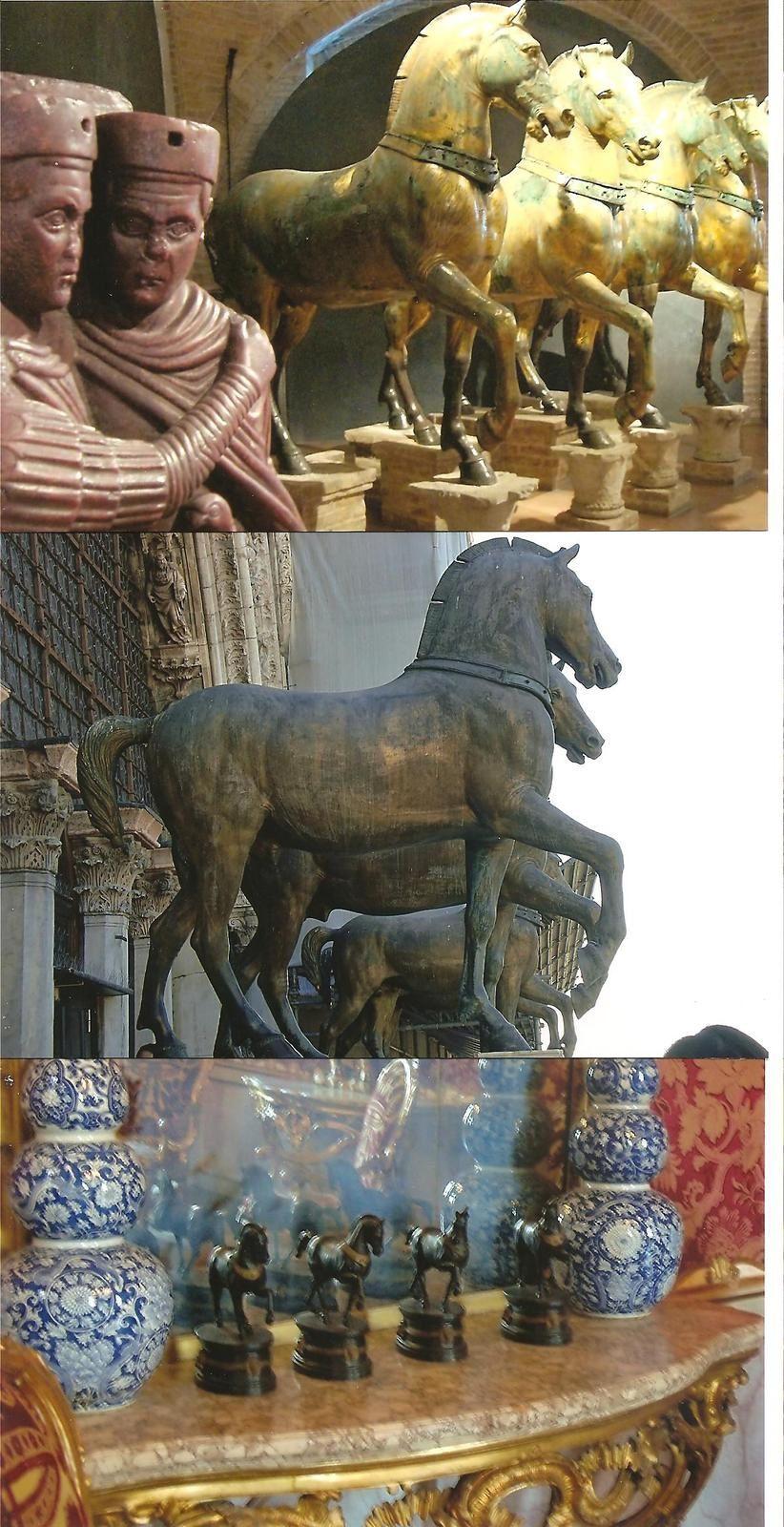 en haut, chevaux originaux, au centre copies sur la façade de Saint Marc, au premier plan les Tétrarques, en bas : reproductions miniature au musée Correr de Venise