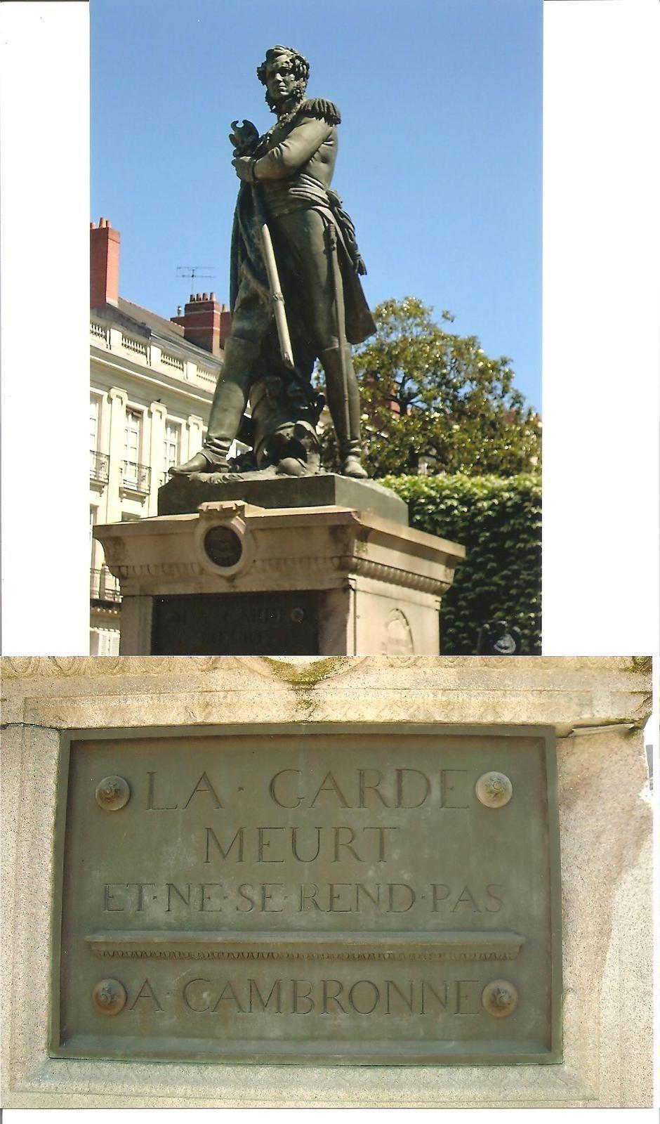 statue de Cambronne et inscription sur le socle à Nantes Cours Cambronne, photo J.D. 20 juin 2015