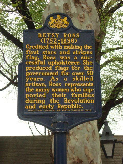 inscription et drapeau sur la maison de Betsy Ross, photos J.D. 23 avril 2016