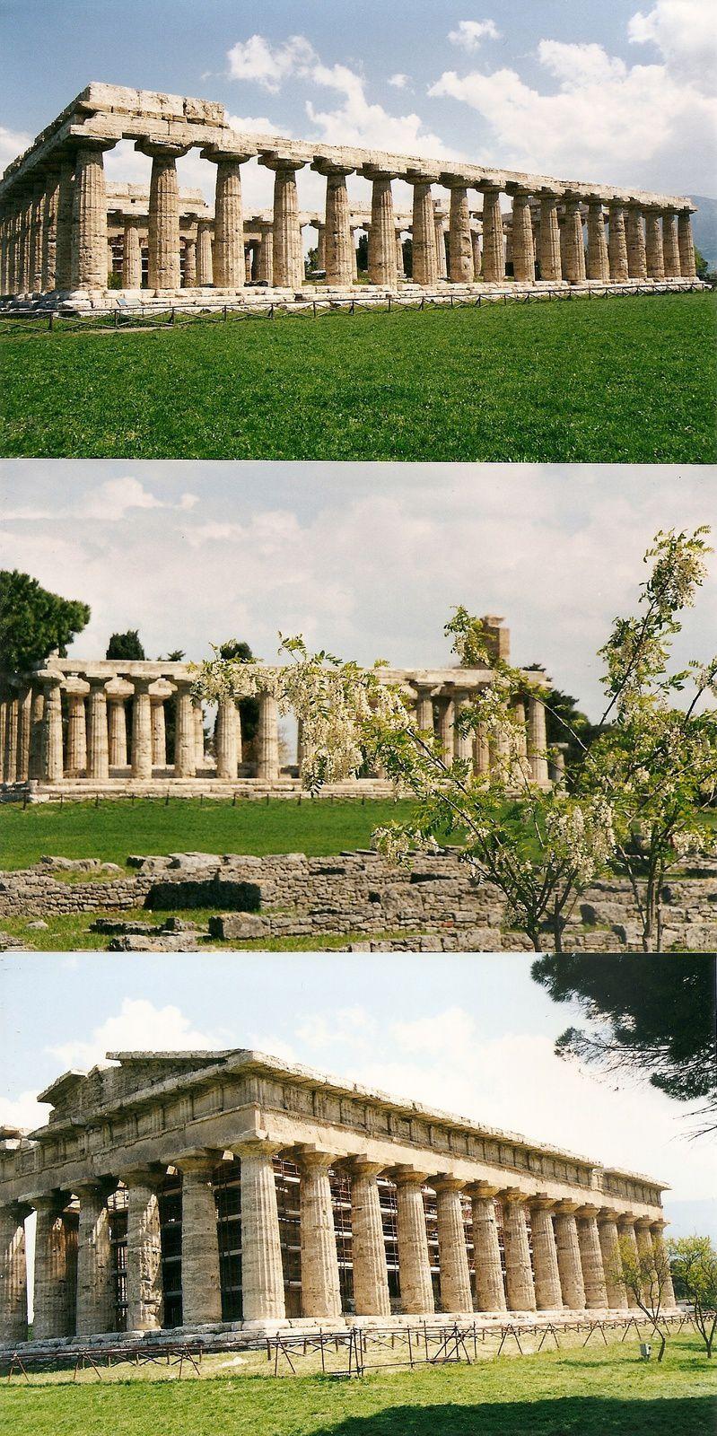 temples de Paestum, de haut en bas : Basilique ou Héra, Athéna ou Cérès, Héra ou Poseidon, photos Michèle Delisle avril 2002, et temple de la Concorde à Agrigente, photo J.D. 10 juillet 1973