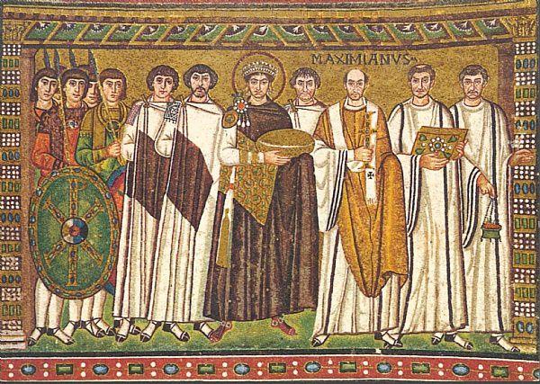 San Vitale à Ravenne, mosaïque de Justinien et détail de la mosaïque de Théodora