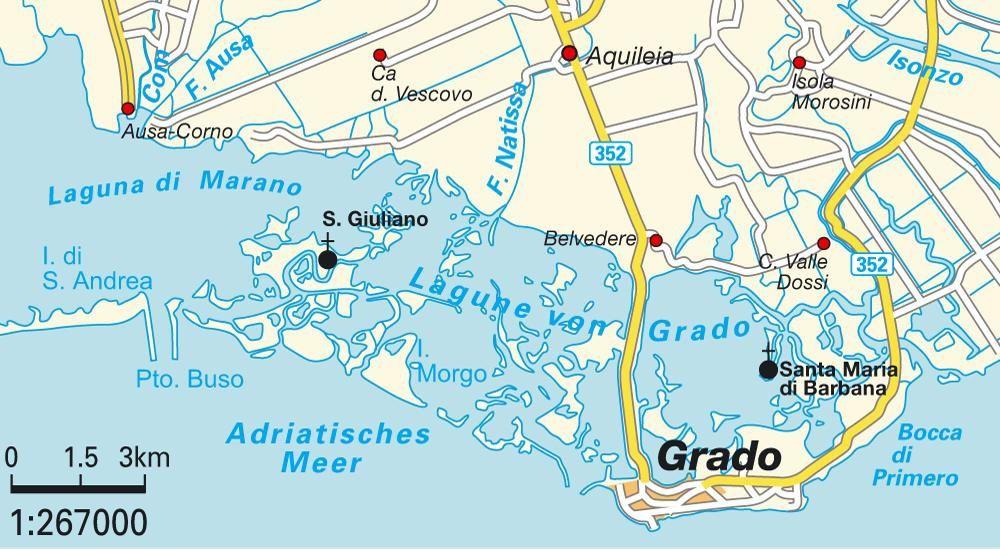 localisation d'Aquilée et Grado, carte du net (hot-map.com)
