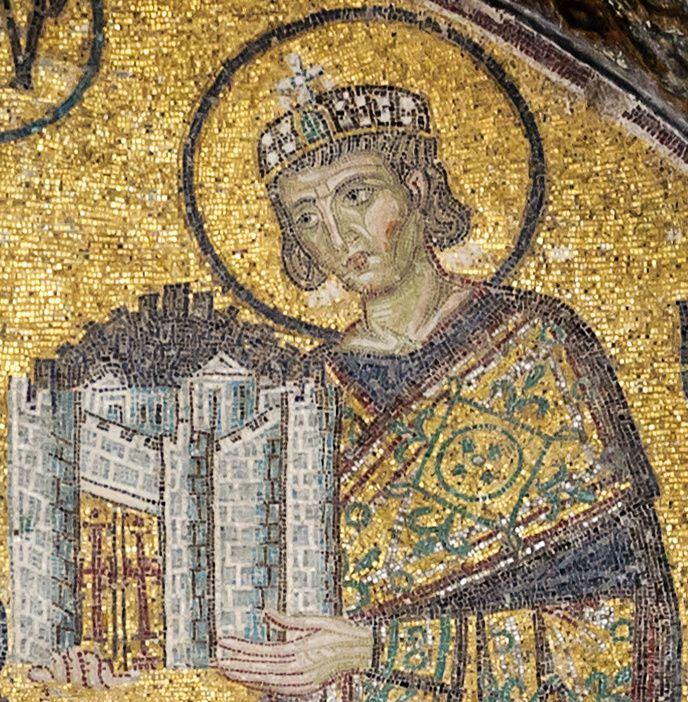 Constantin présentant une maquette, mosaïque à Sainte Sophie, image du net
