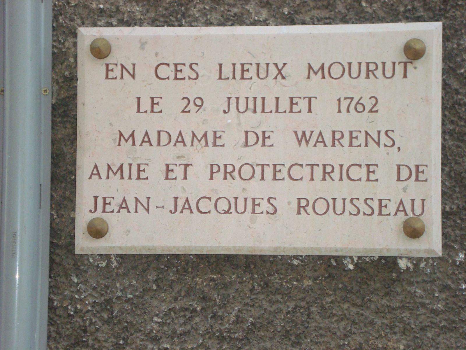 Jean-jacques Rousseau et 3 inscriptions consacrées à Madame de Warens, photos J.D. mars 2017