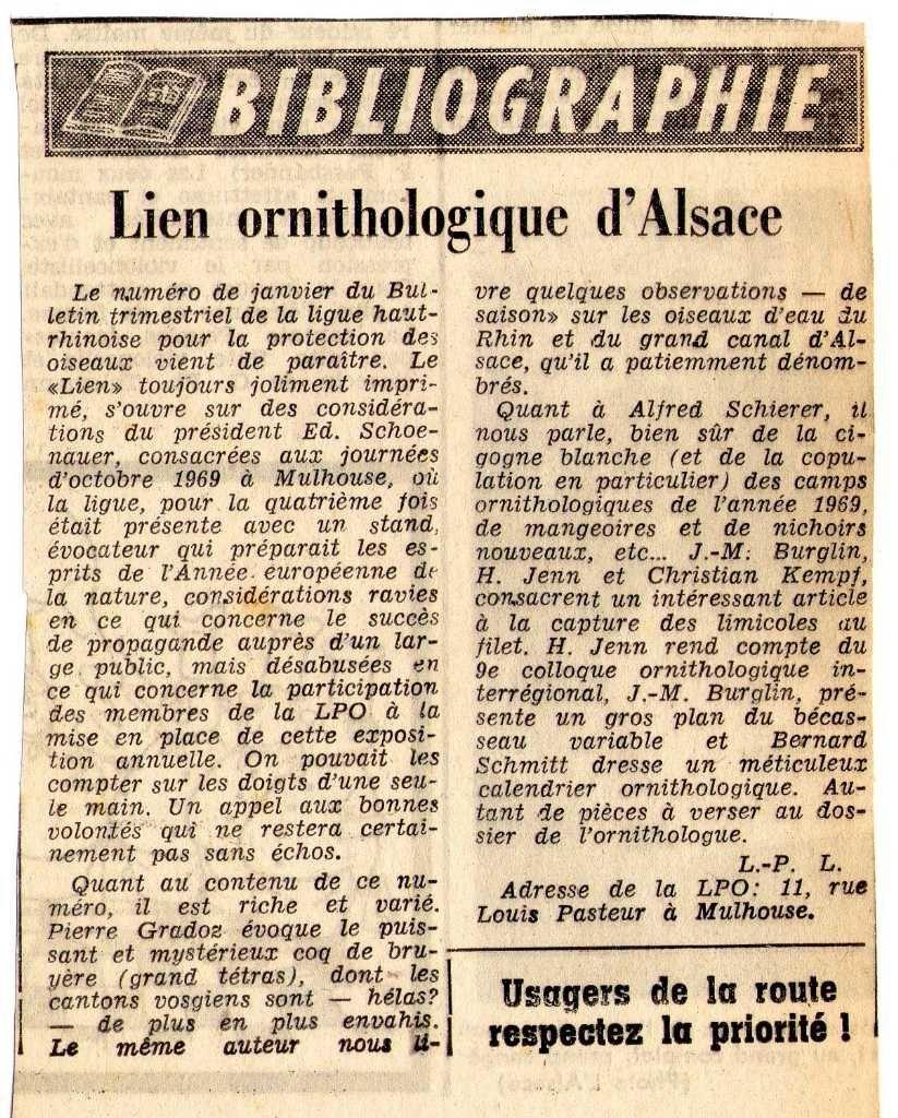 Journal l'Alsace de janvier 1970 présentant le  Lien Ornithologique d'Alsace et citant mes articles