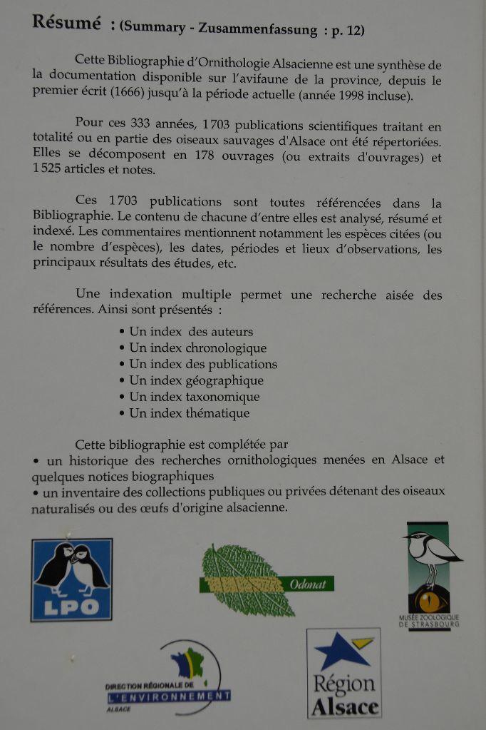 Bibliographie d'Ornithologie Alsacienne par Yves Muller citant les publications de Burglin Jean-Marc
