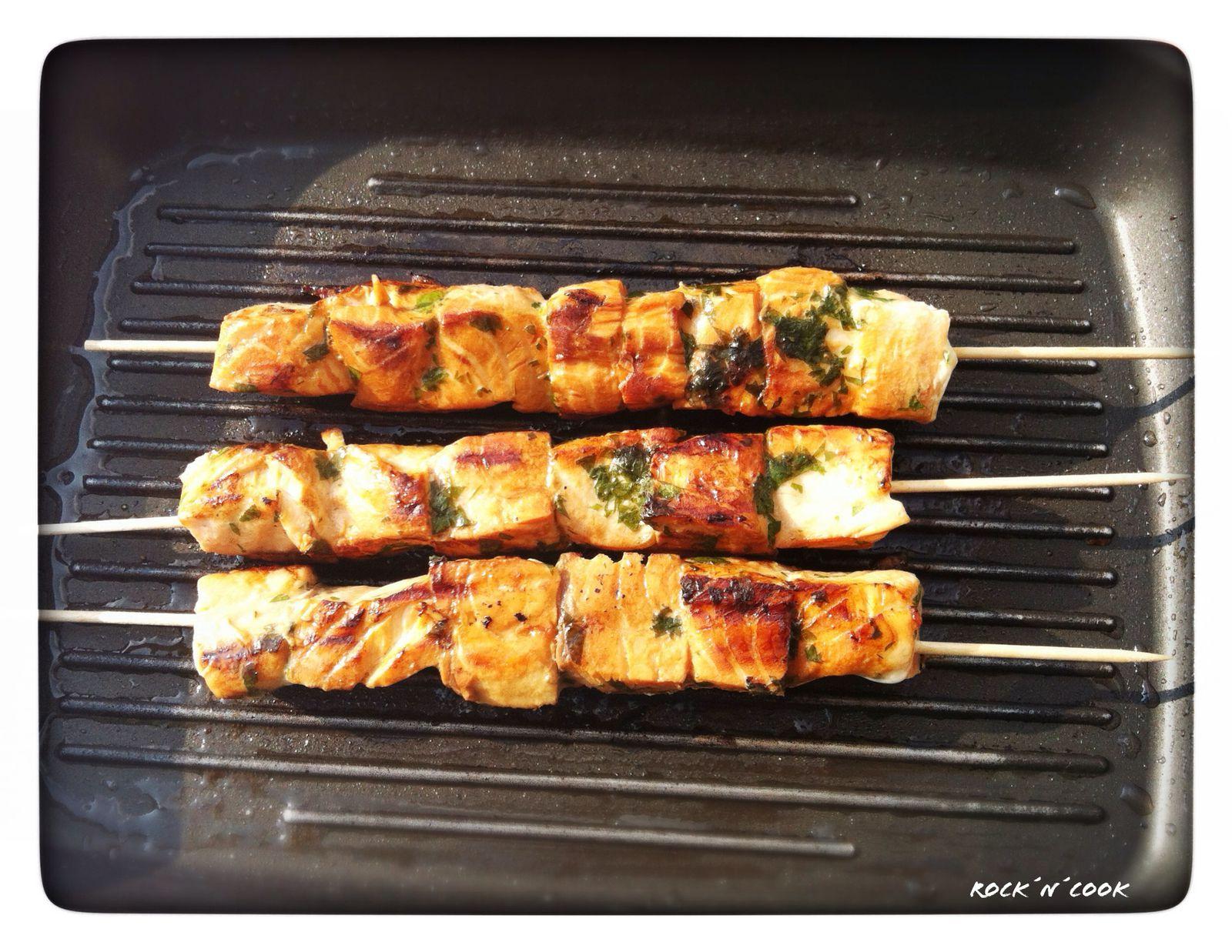- Brochettes de saumon mariné -