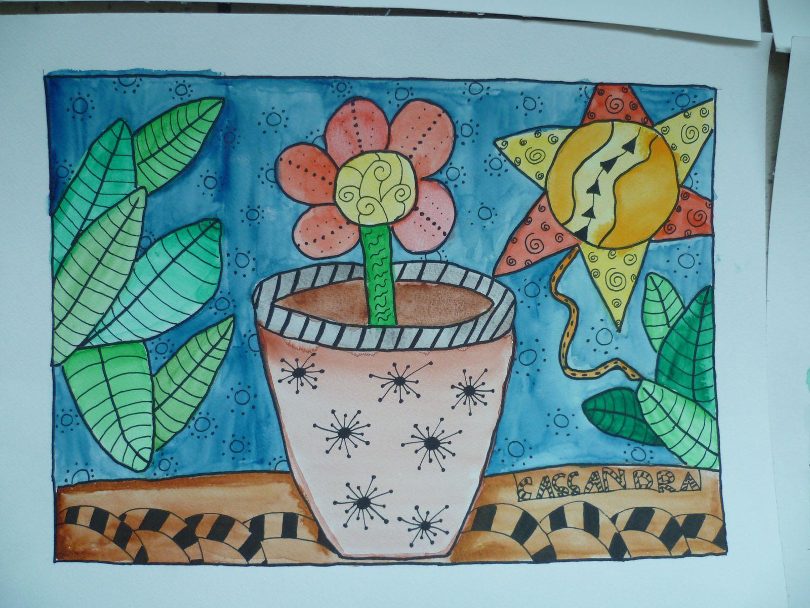 doodlings aquarellés avec des enfants de 10-11 ans