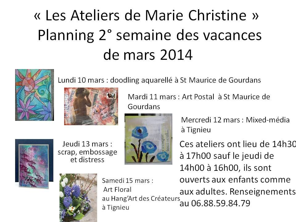 Planning de ma seconde semaine d'atelier