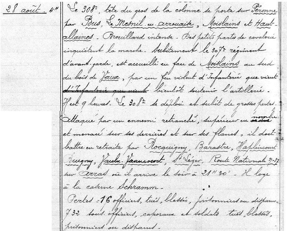 Extrait du journal de marche du 308e régiment pour le 28 août 1914