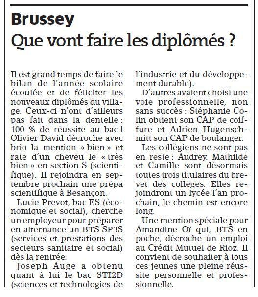 LES NOUVEAUX DIPLÔMES DE BRUSSEY