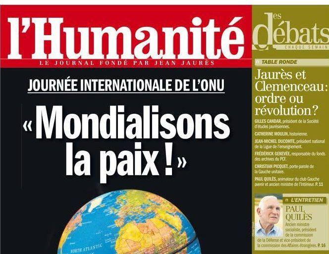 Paul Quilès dans &quot&#x3B;l'Humanité des débats&quot&#x3B;