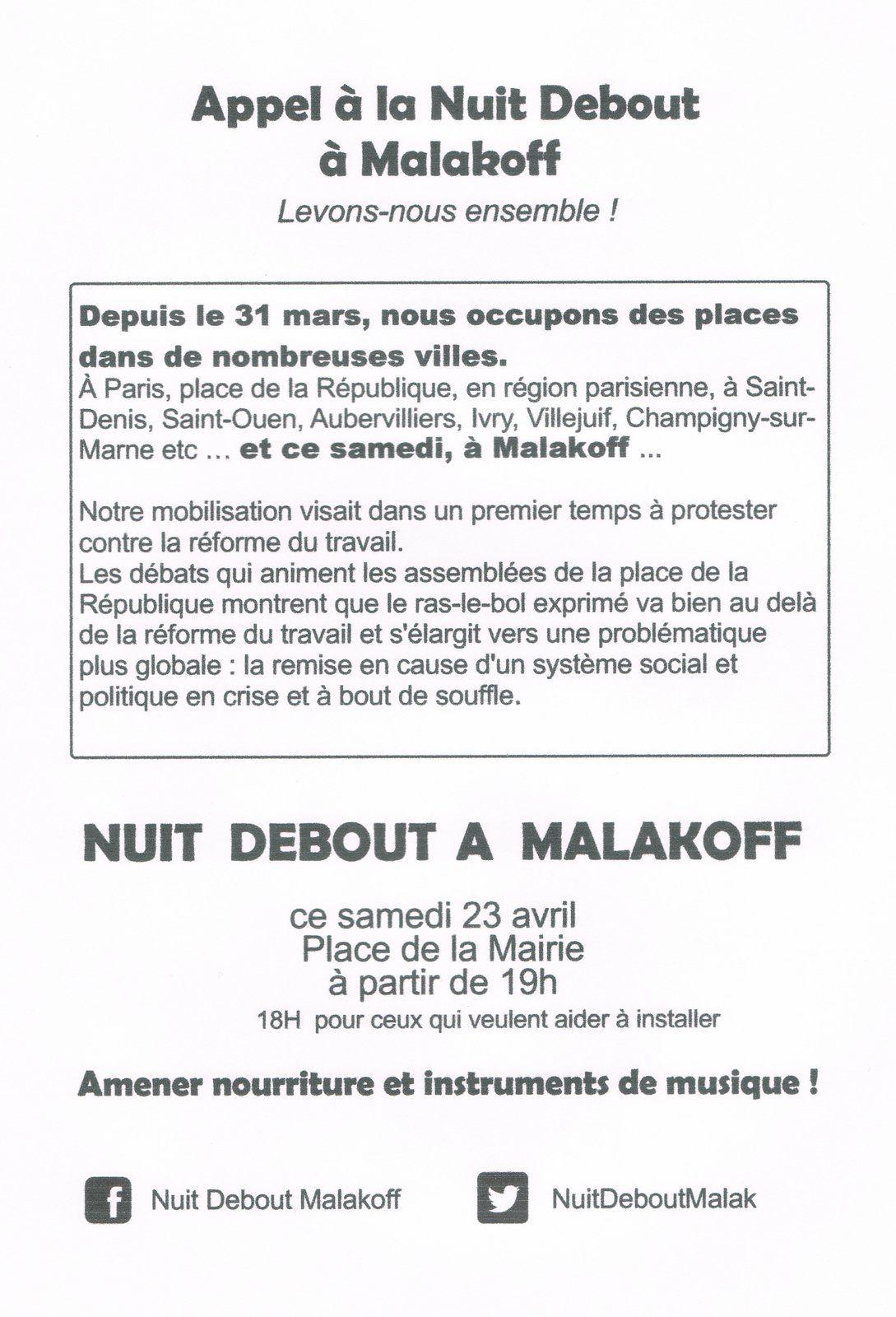 Malakoff: nuit debout demain