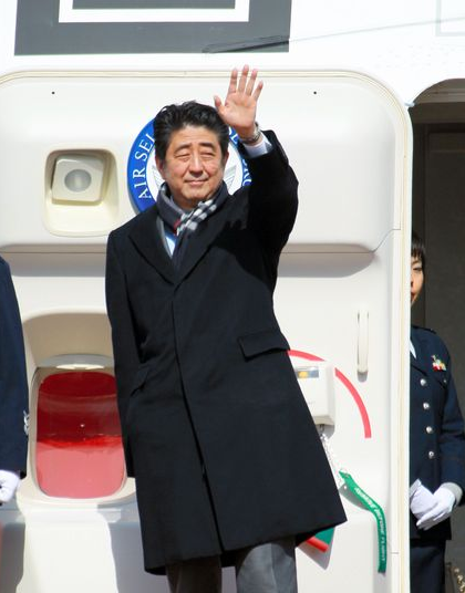 Prime Minister Shinzo Abe departs for Russia on Feb. 7 to attend the opening ceremony of the Sochi Olympics. During his visit, Abe will hold his fifth summit with President Vladimir Putin since taking office 13 months ago. (Asahi Shimbun photo/ Hiroshi Kawai)