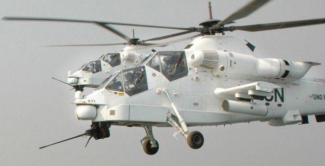 Des hélicoptères escortent une délégation de l'ONU de Beni à Kiwanja, dans la province du Nord-Kivu (Clara Padovan/MONUSCO)