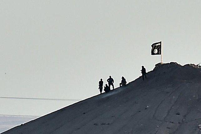 Des jihadistes du groupe Etat islamique se tiennent le 6 octobre 2014 à côté d'un drapeau qu'ils ont planté sur une colline à la périphérie de la ville de kurde de Kobané, en Syrie (Archives/Aris Messinis/AFP)