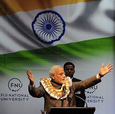 Prime Minister Narendra Modi speaks at Fiji National University.