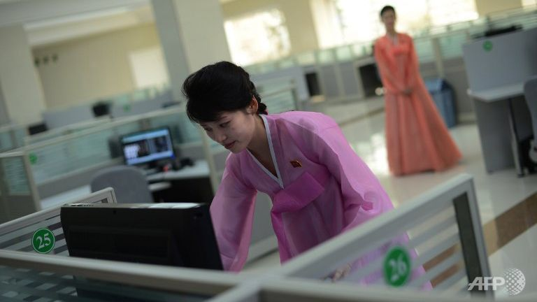 A North Korean woman checks a computer in Pyongyang. (Photo: AFP/Pedro Ugarte)