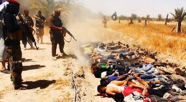 ISIS jihadists seen here carrying out summary executions of captured Iraqi soldiers.