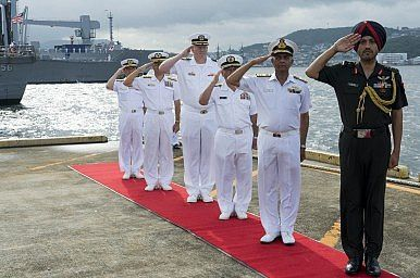 U.S., Japanese, and Indian officers during Malabar 2014. Image Credit: U.S. Navy photo by Mass Communication Specialist Seaman Apprentice Patrick Dionne