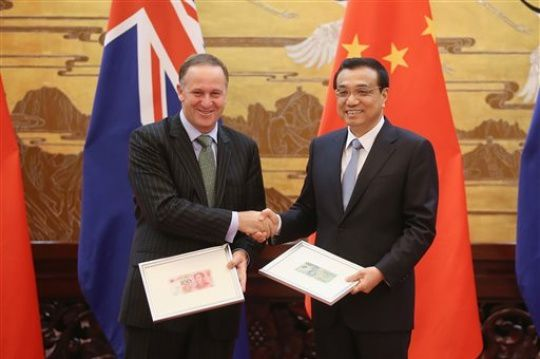 Photo of New Zealand prime minister John Key, left, and Chinese premier Li Keqiang in Beijing, March 2014. (Feng Li/AP)
