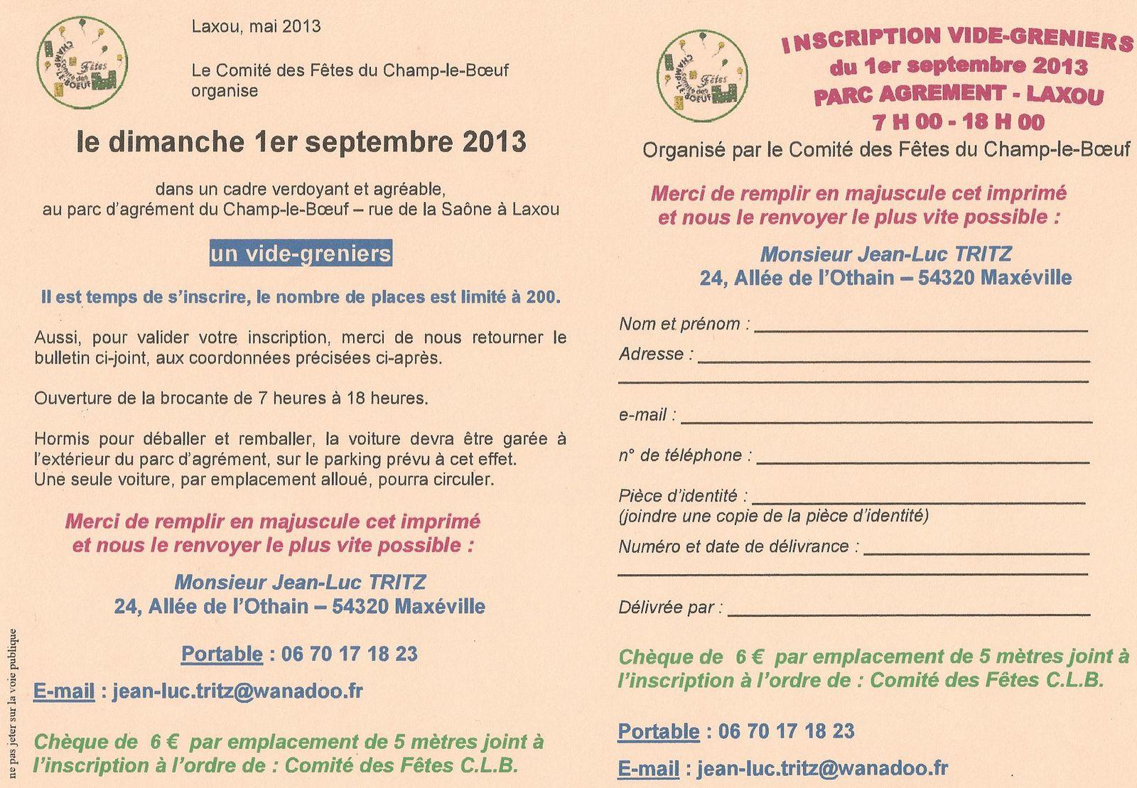 Vide-Greniers du Champ le Boeuf: inscrivez-vous !...