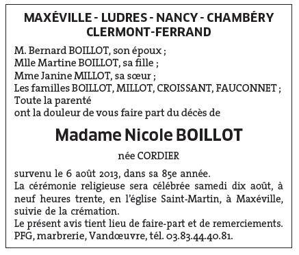 La maman de Martine Boillot vient de nous quitter...