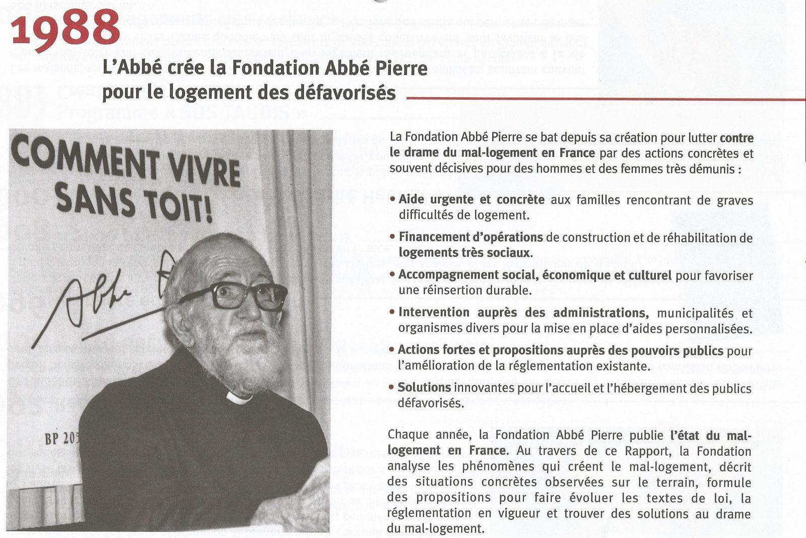Fondation Abbé Pierre pour le logement des défavorisés, pour les sans logis et pour les mal logés...