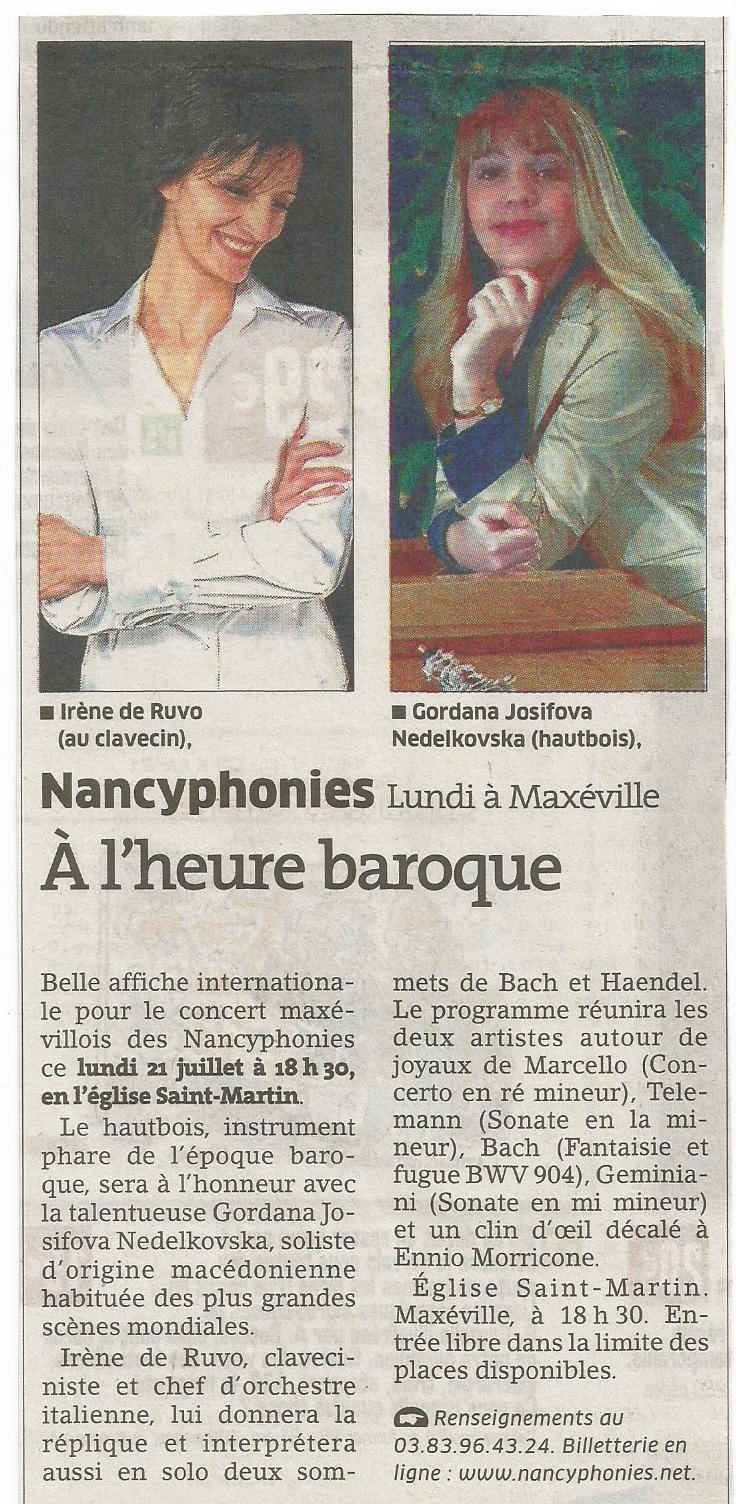 """Dans la page """"Sortir"""" de L'Est Républicain du dimanche 20 juillet 2014..."""