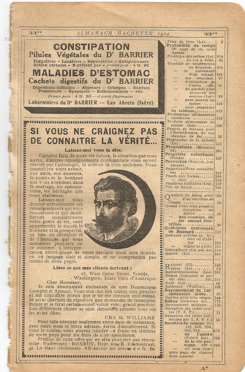 L'Almanach Hachette: à la découverte de la &quot&#x3B;Petite Encyclopédie Populaire de la Vie Pratique&quot&#x3B; de 1924 (4)