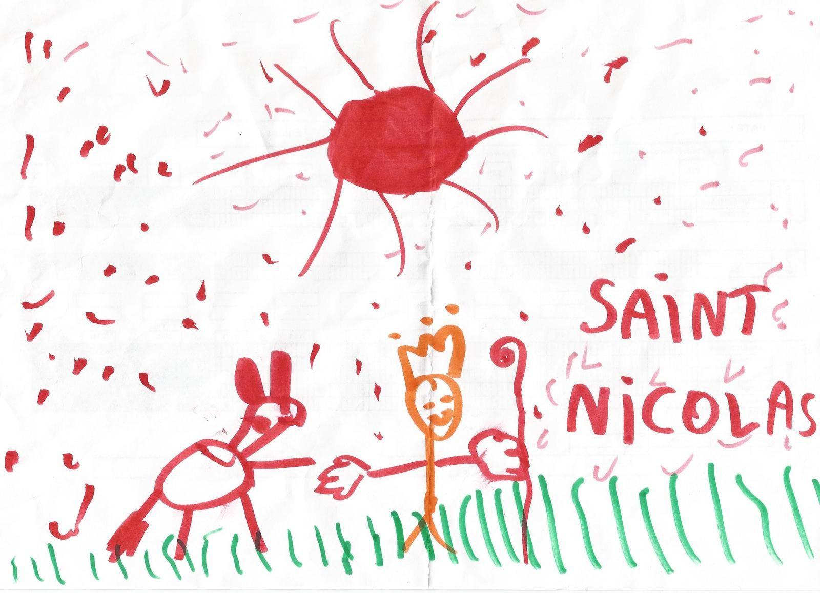 Quelques dessins offerts par les enfants à St Nicolas