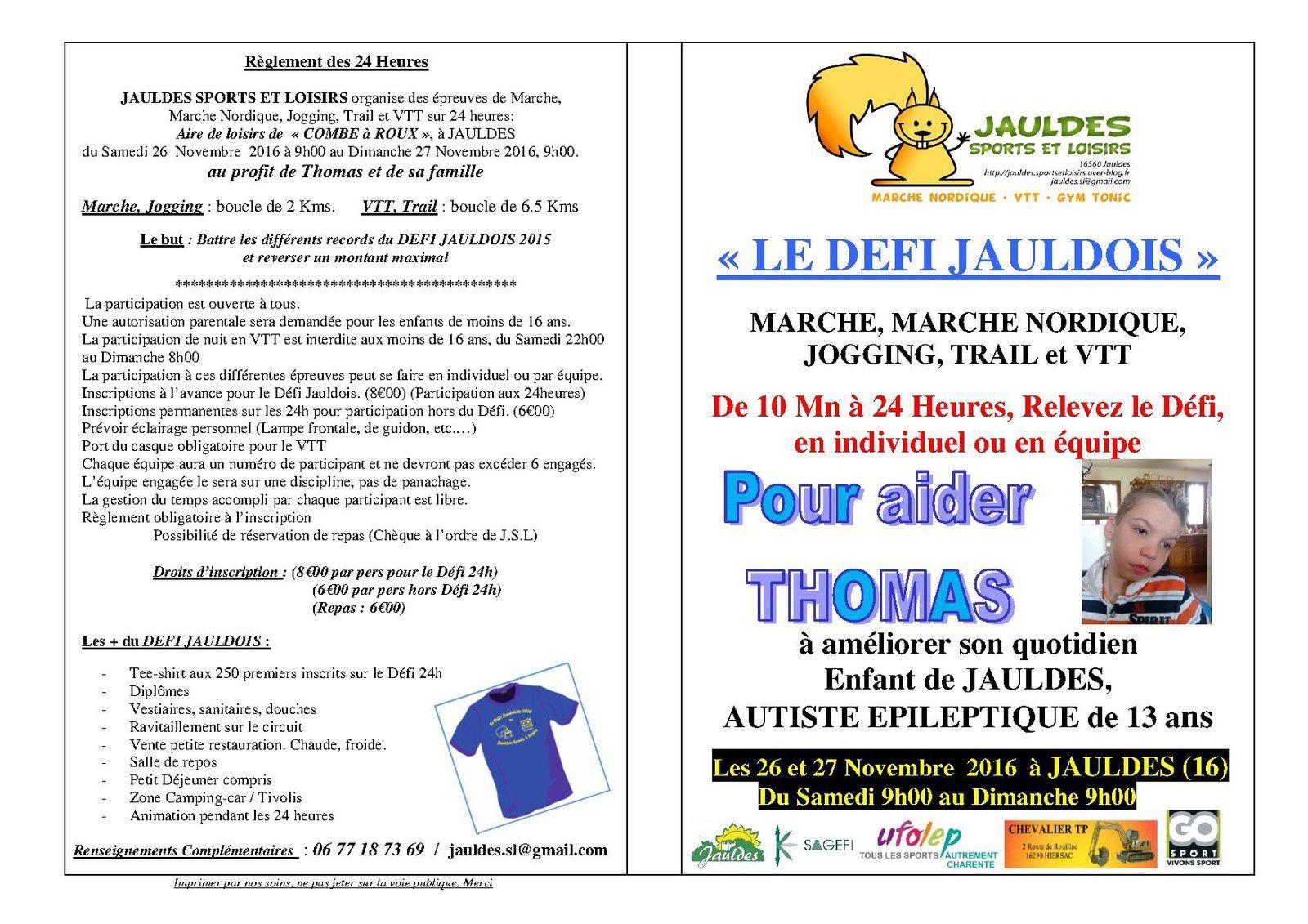 DEFI JAULDOIS du 26/11/16 09h00 au 27/11/16 09h00