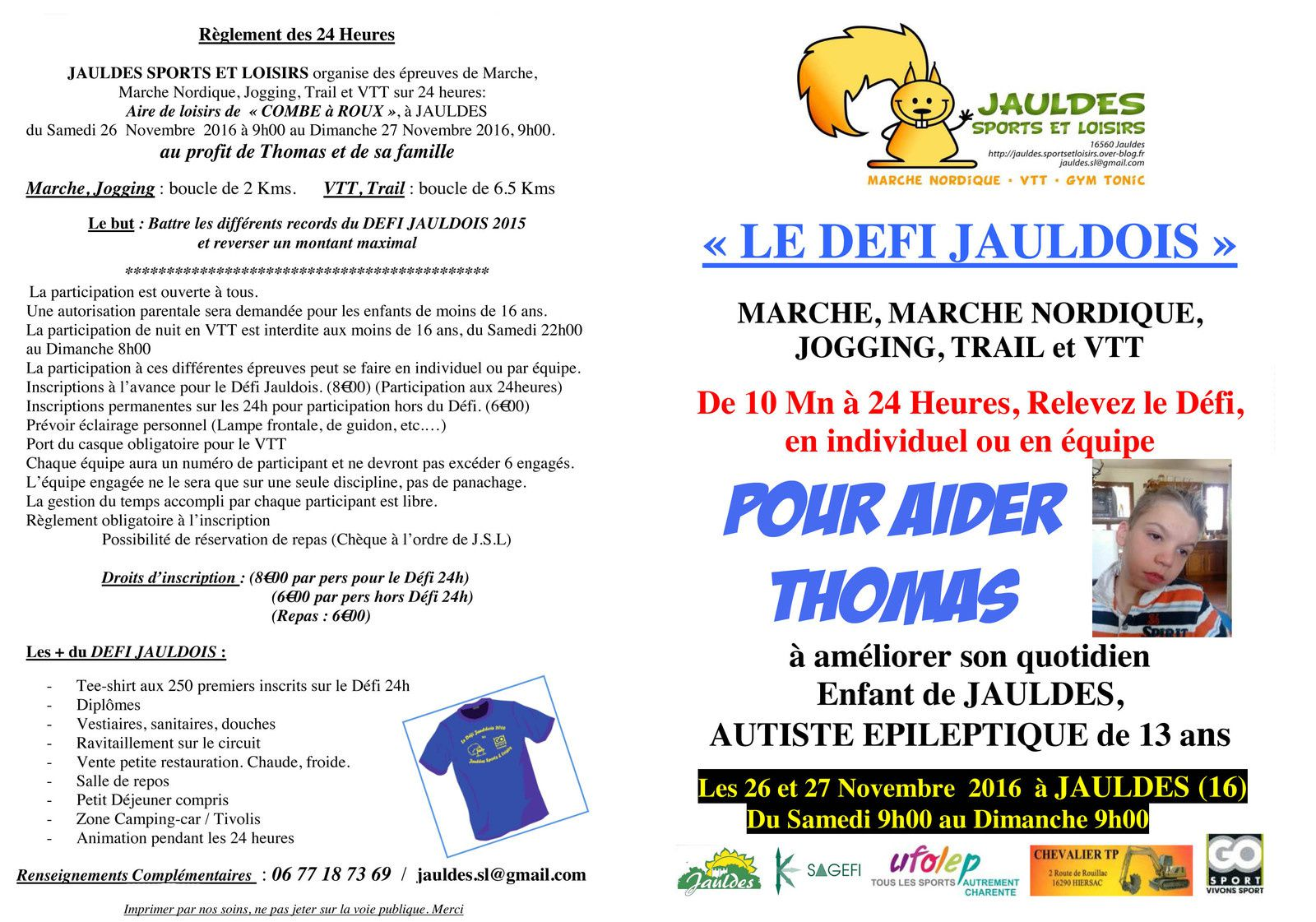 DEFI JAULDOIS 2016 : BULLETINS D'INSCRIPTION