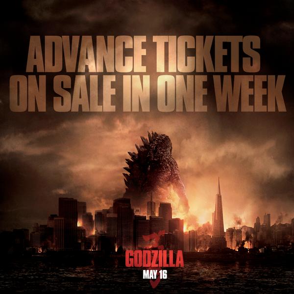 Une affiche pour les avant-premières  de Godzilla