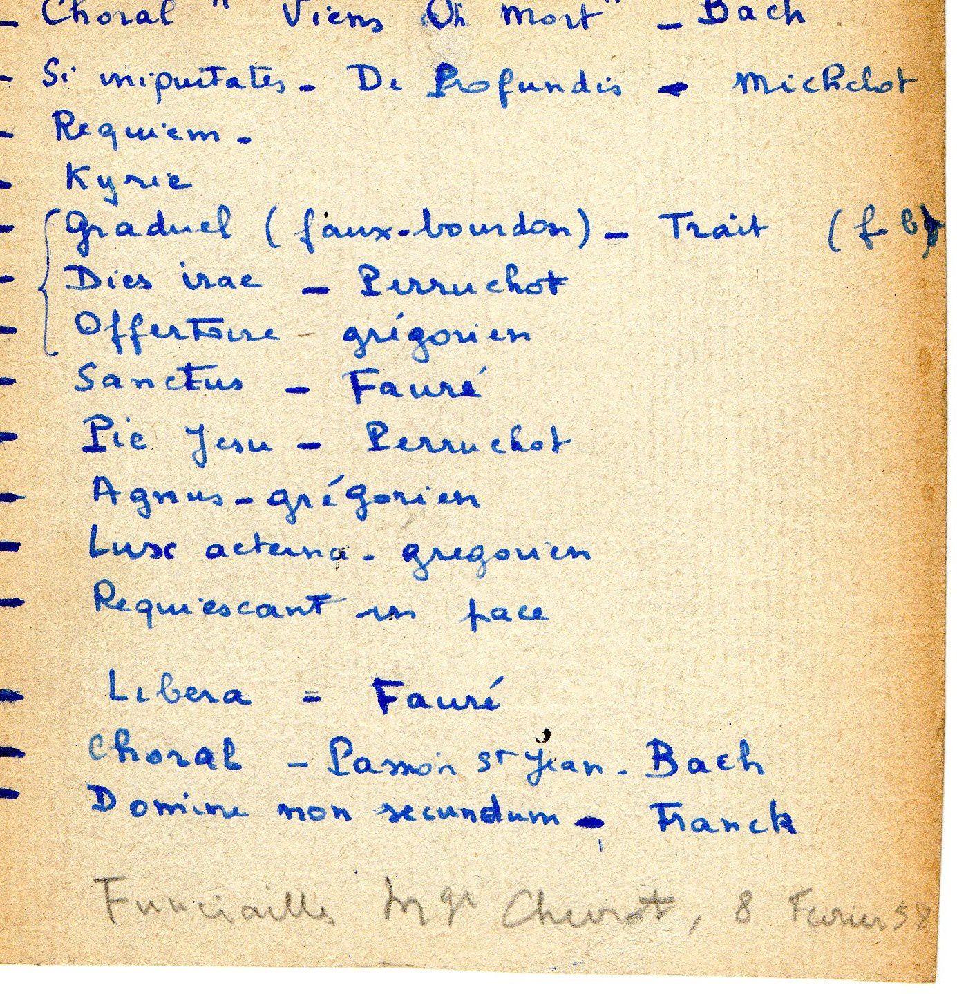 Obsèques de Monseigneur Chevrot : programme musical.