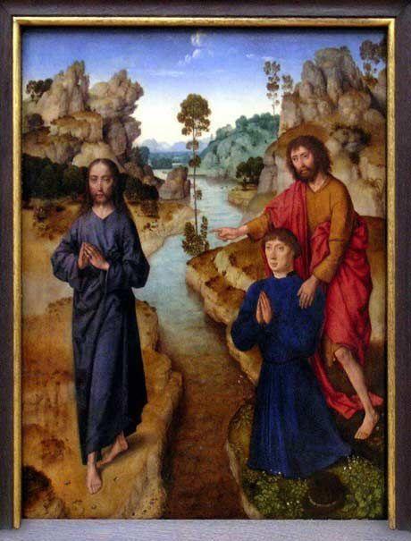 Dirck Bouts (le Vieux). Ecce Agnus Dei (Voici l'Agneau de Dieu, Jn 1, 29-36). Ancienne Pinacothèque de Munich.