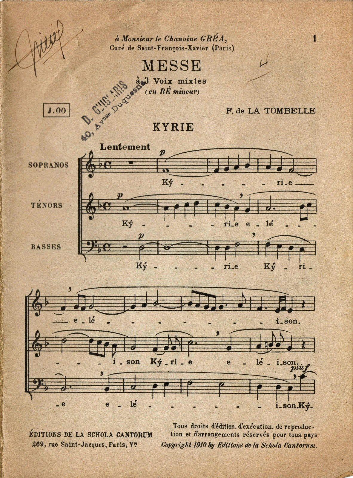 Messe en ré mineur de Fernand de la Tombelle