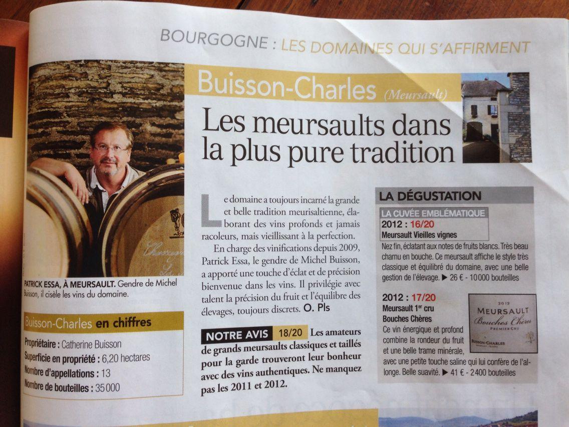 Le domaine parmi les meilleurs producteurs de vins blancs de Bourgogne pour la RVF
