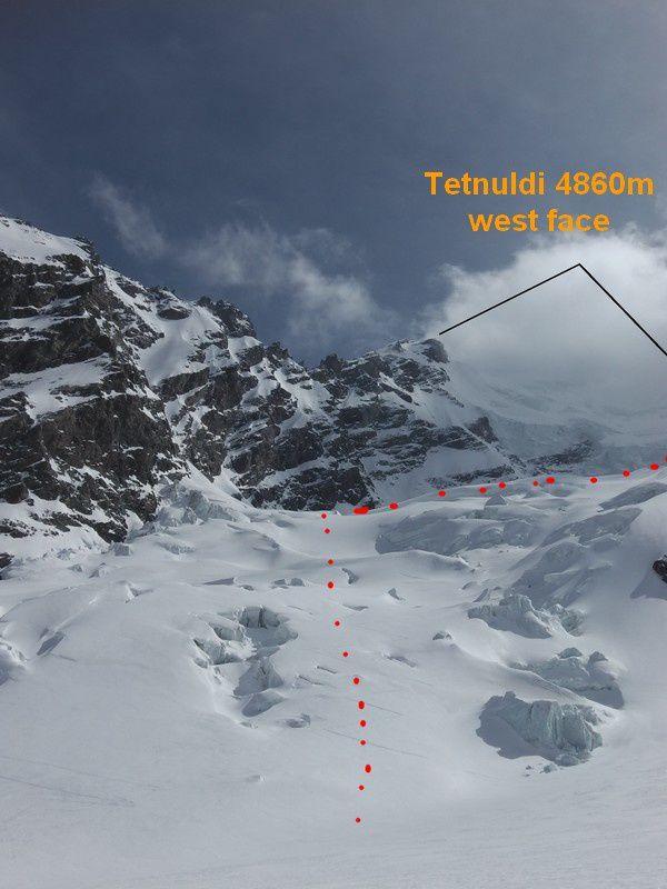 L'itinéraire qui nous avons parcouru en face ouest du Tetnuldi, avec le sommet qui ne se découvrira jamais à nos yeux.