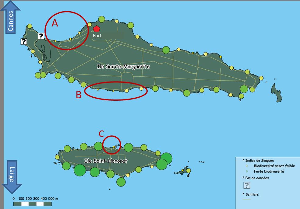 Carte de biodiversité (Simpson) établie en octobre 2012. La biodiversité est plus forte au Sud de l'archipel qu'au Nord et suggère certaines zones à faible biodiversité.