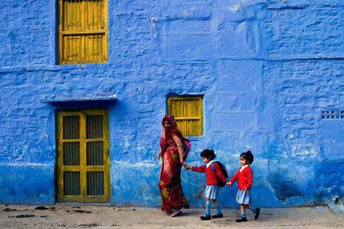 "*Photo via 500px ""Schoolgirls"" by James Khoo in the famous Blue City of Judhpur,"