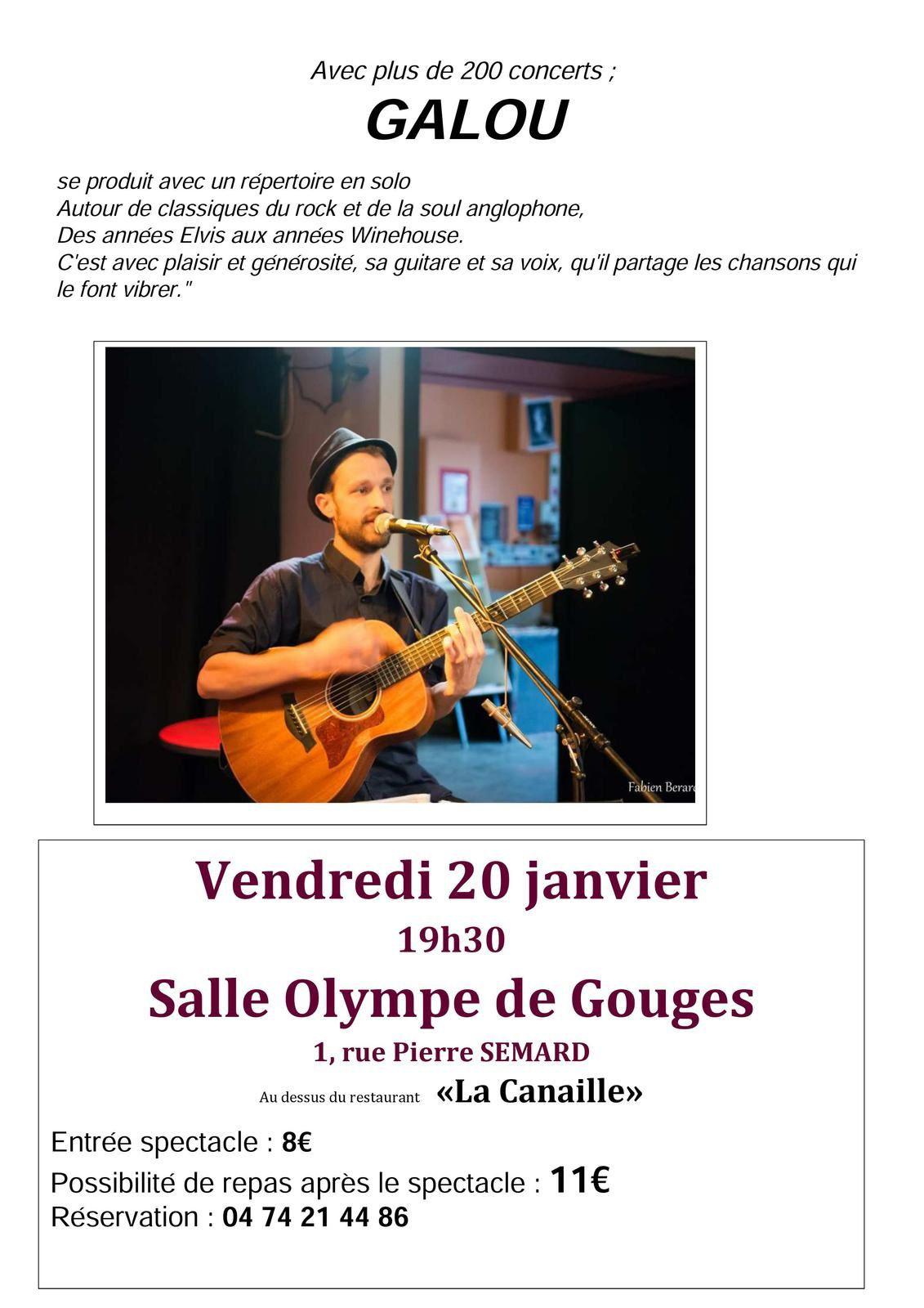 GALLOU Vendredi 20 janvier 19h30  à Bourg en Bresse 01