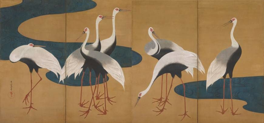 Suzuki Kiitsu's 'Cranes,' a pair of two-fold screens (19th century) | THE FEINBERG COLLECTION