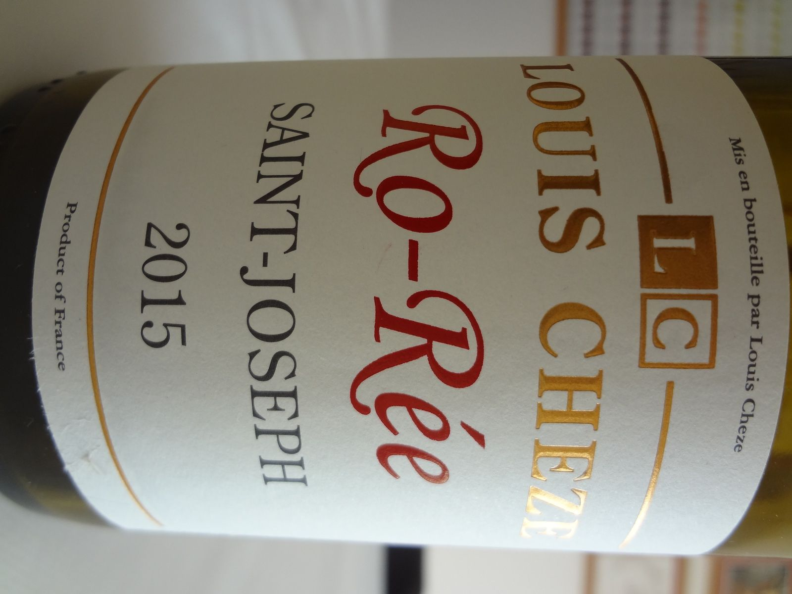 Vino Passion -Saint Joseph rouge 2015 - Louis Cheze.