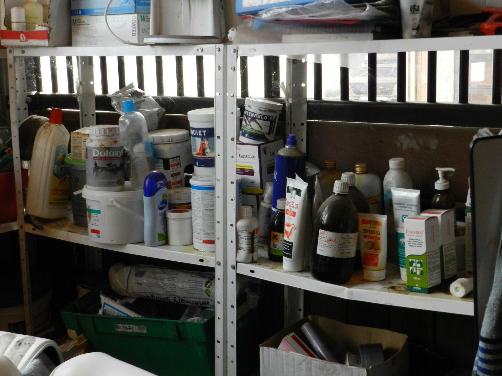 Pharmacie vétérinaire dans une écurie. Techniques d'élevage. Tous droits réservés